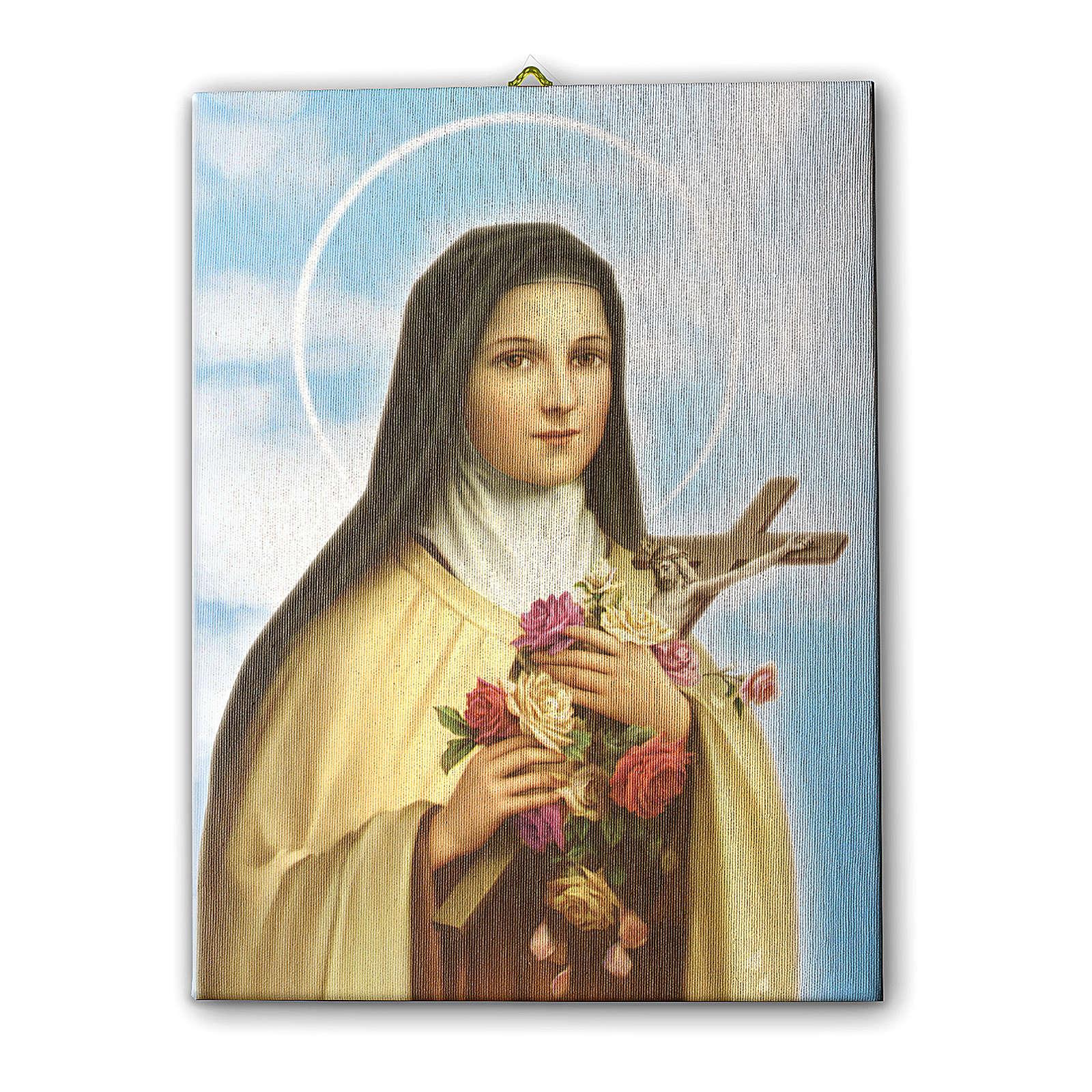 Quadro su tela pittorica Santa Teresa del Bambin Gesù 40x30 cm 3