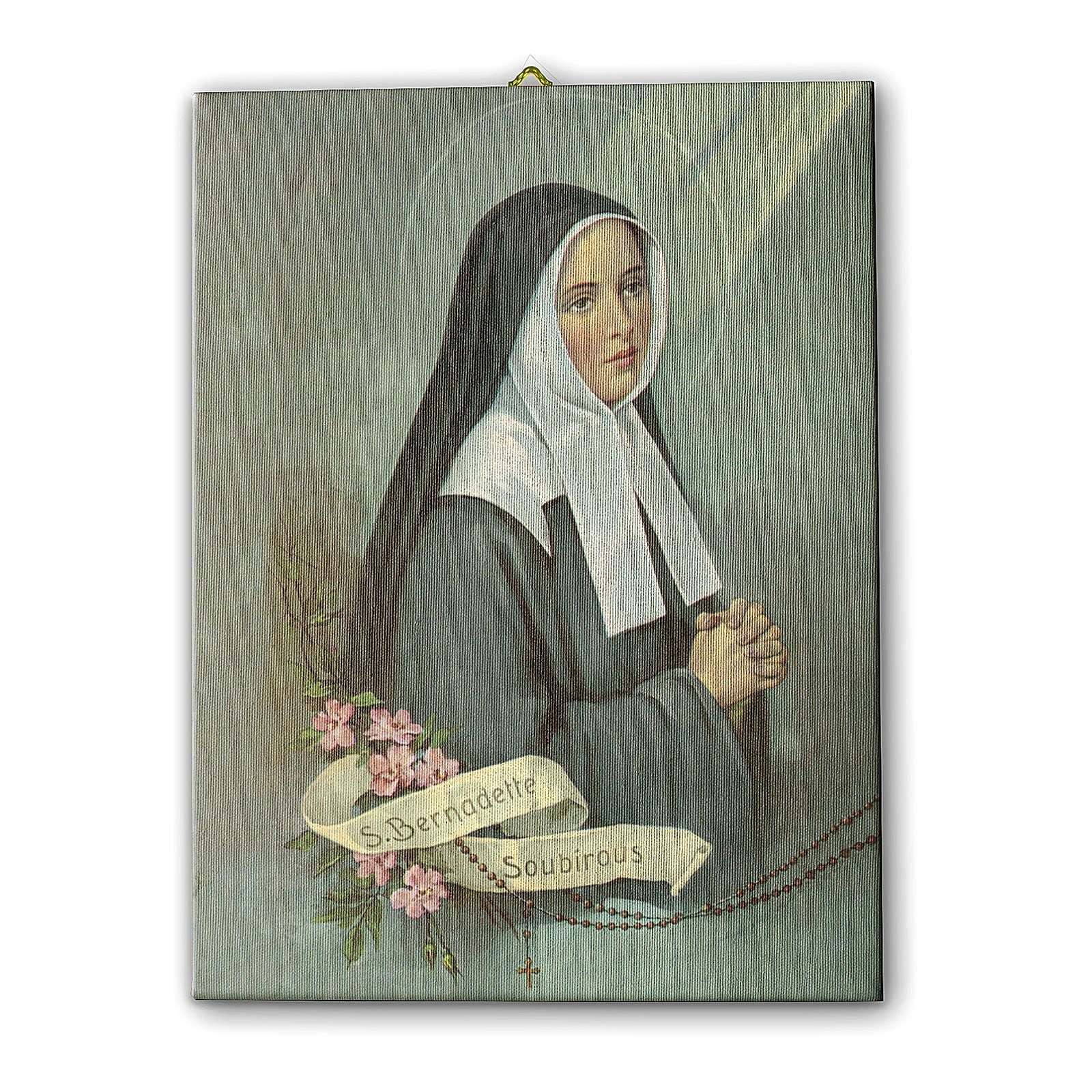 Quadro su tela pittorica Santa Bernadette 25x20 cm 3