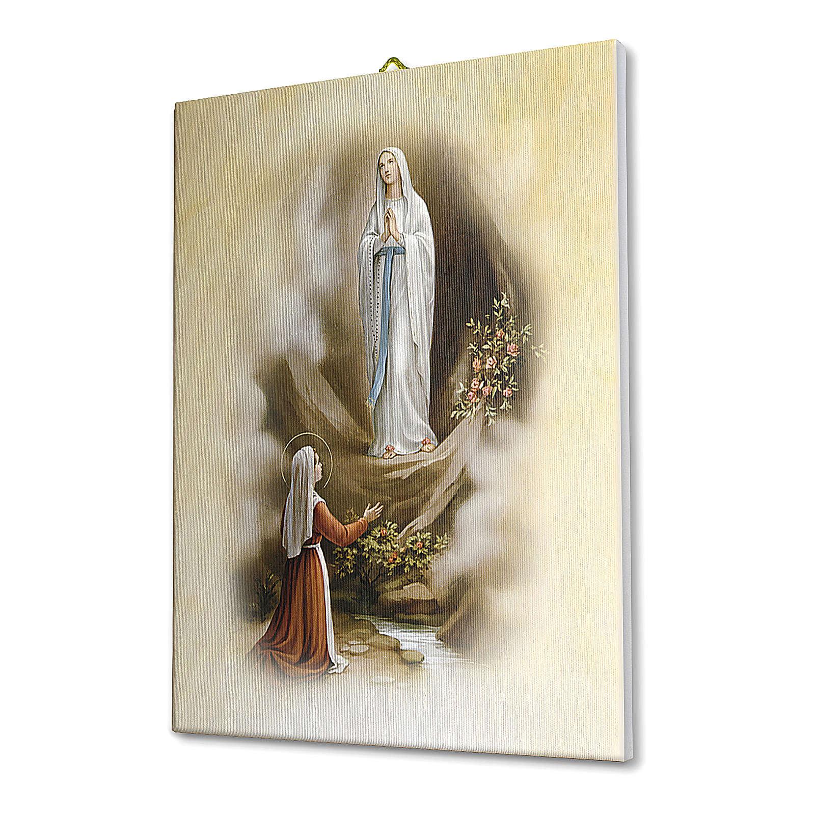Quadro su tela pittorica Apparizione di Lourdes vintage 40x30 cm 3