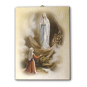 Quadro su tela pittorica Apparizione di Lourdes vintage 40x30 cm s1