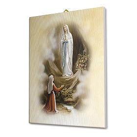 Quadro su tela pittorica Apparizione di Lourdes vintage 40x30 cm s2