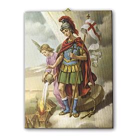 Quadro su tela pittorica San Floriano 25x20 cm s1