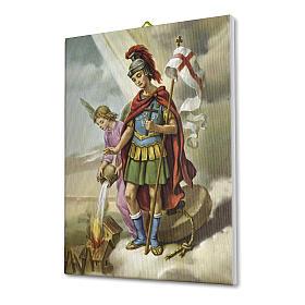 Quadro su tela pittorica San Floriano 25x20 cm s2
