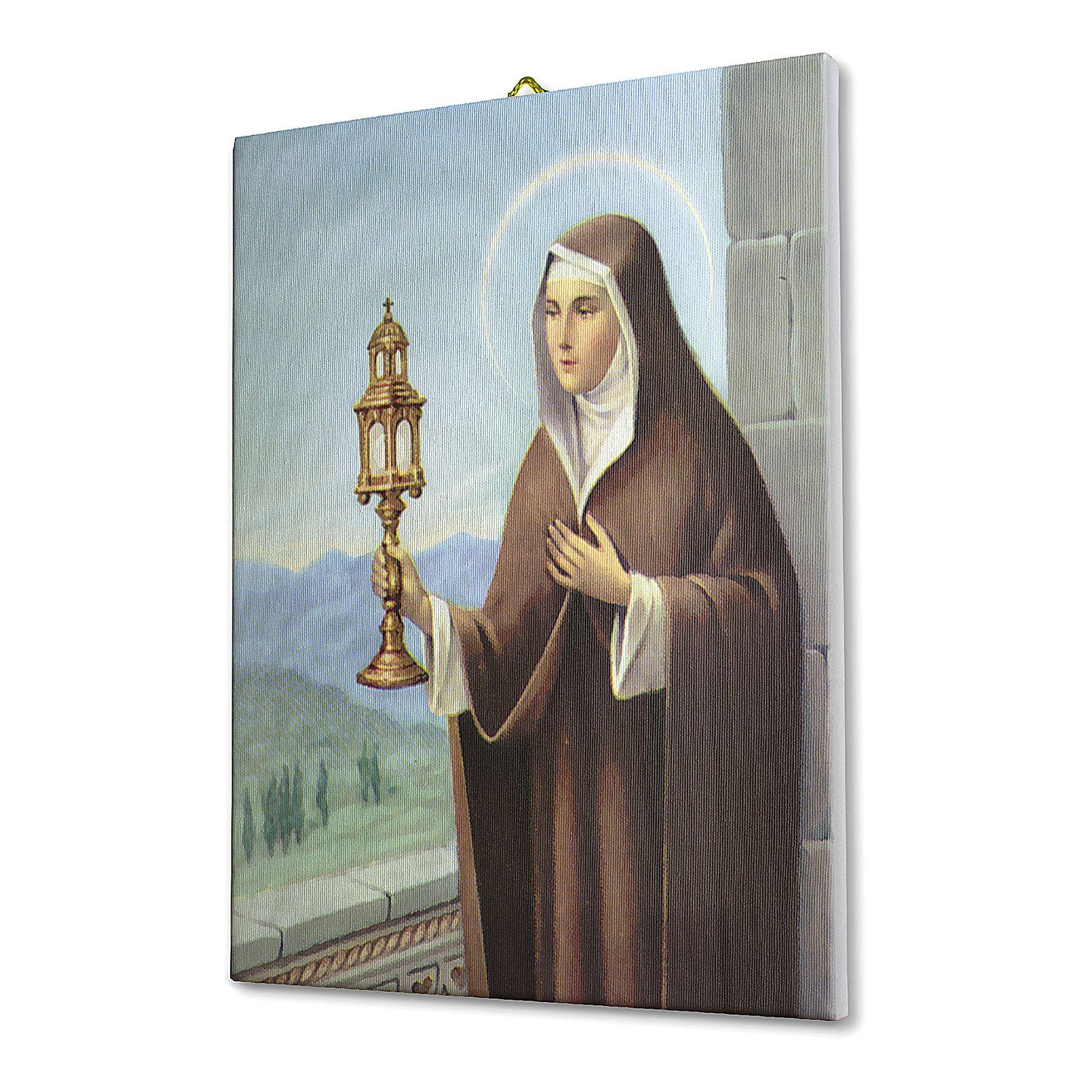 Quadro su tela pittorica Santa Chiara d'Assisi 40x30 cm 3