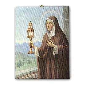 Quadro su tela pittorica Santa Chiara d'Assisi 40x30 cm s1