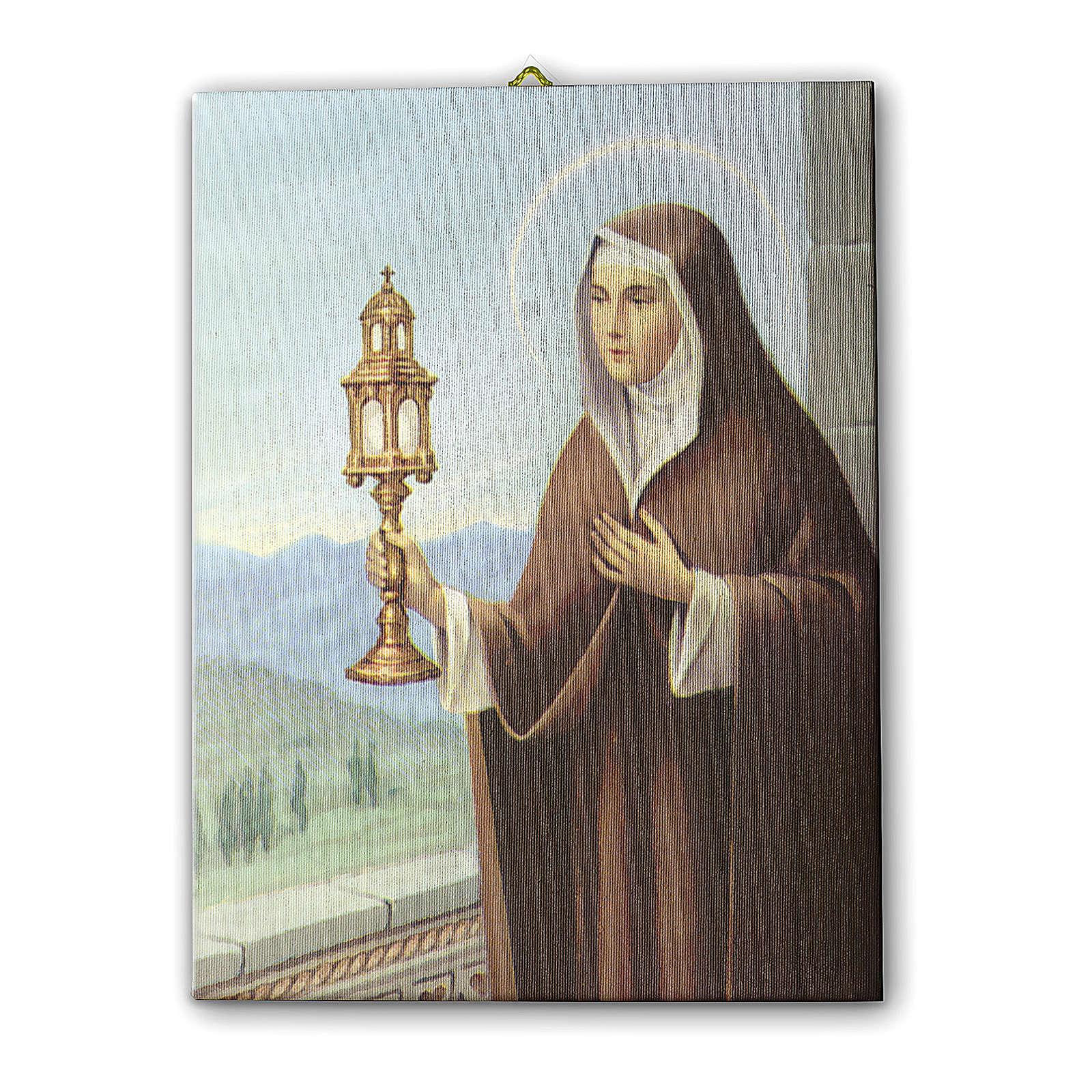 Quadro su tela pittorica Santa Chiara d'Assisi 70x50 cm 3