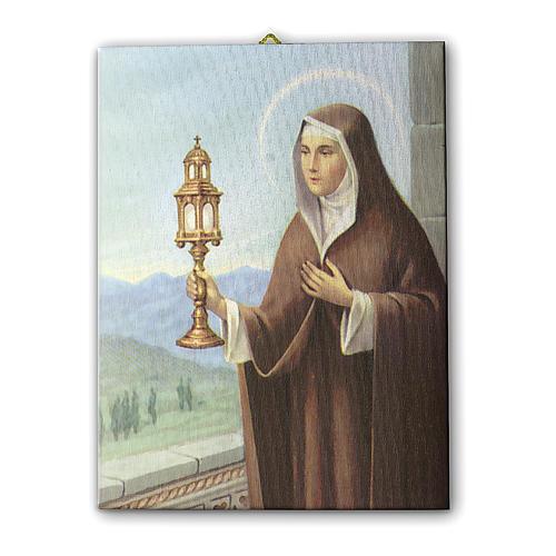Quadro su tela pittorica Santa Chiara d'Assisi 70x50 cm 1