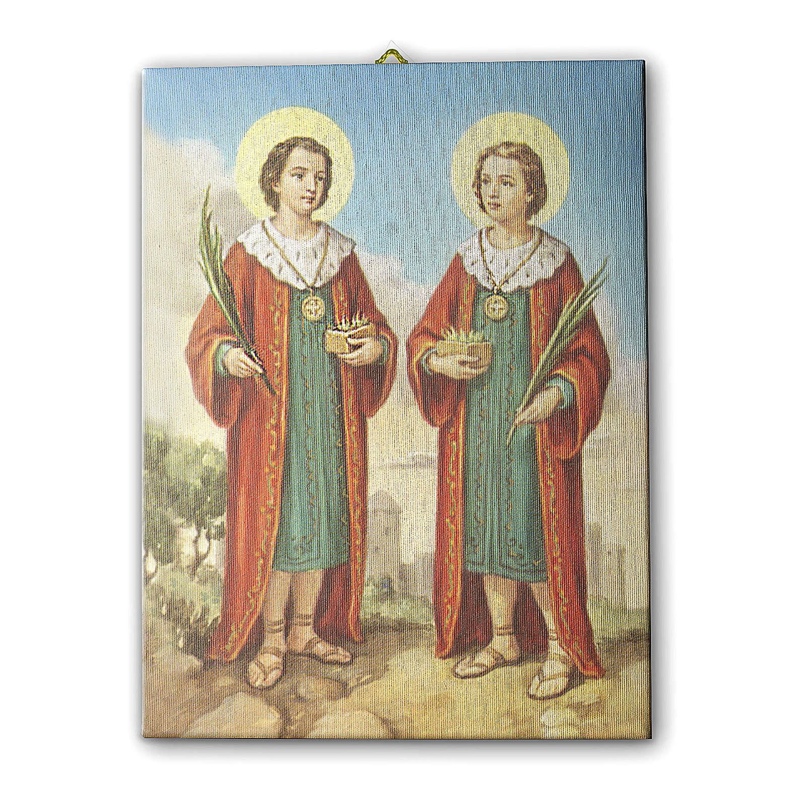 Quadro su tela pittorica Santi Cosma e Damiano 25x20 cm 3