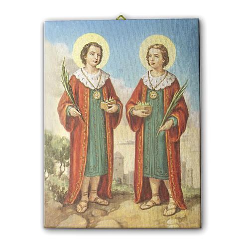 Quadro su tela pittorica Santi Cosma e Damiano 25x20 cm 1