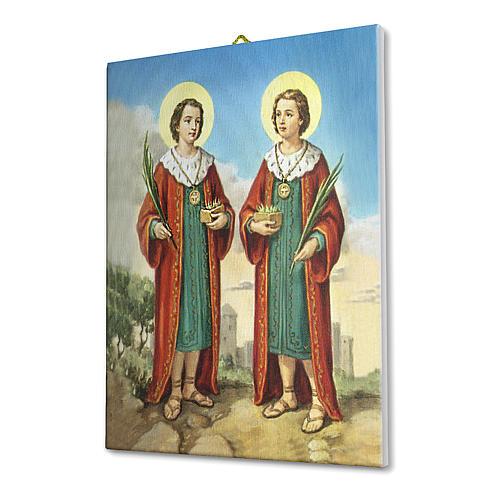 Quadro su tela pittorica Santi Cosma e Damiano 25x20 cm 2