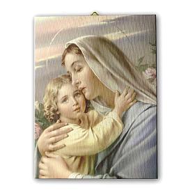 Quadro su tela pittorica Madonna con Bimbo 25x20 cm s1