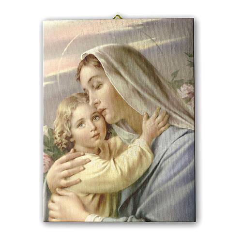 Quadro su tela pittorica Madonna con Bimbo 25x20 cm 1