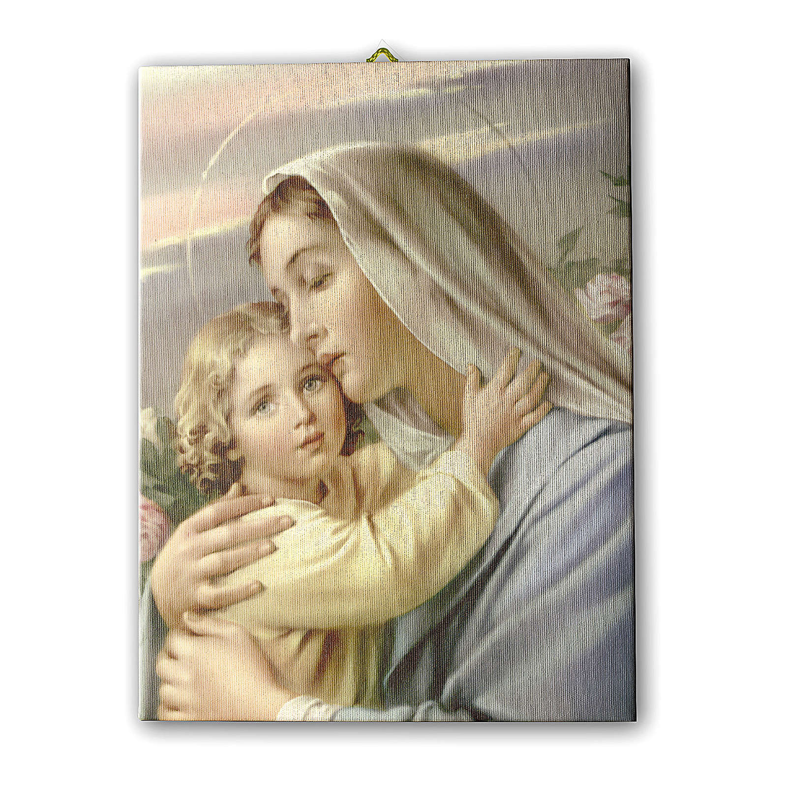 Quadro su tela pittorica Madonna con Bimbo 40x30 cm 3