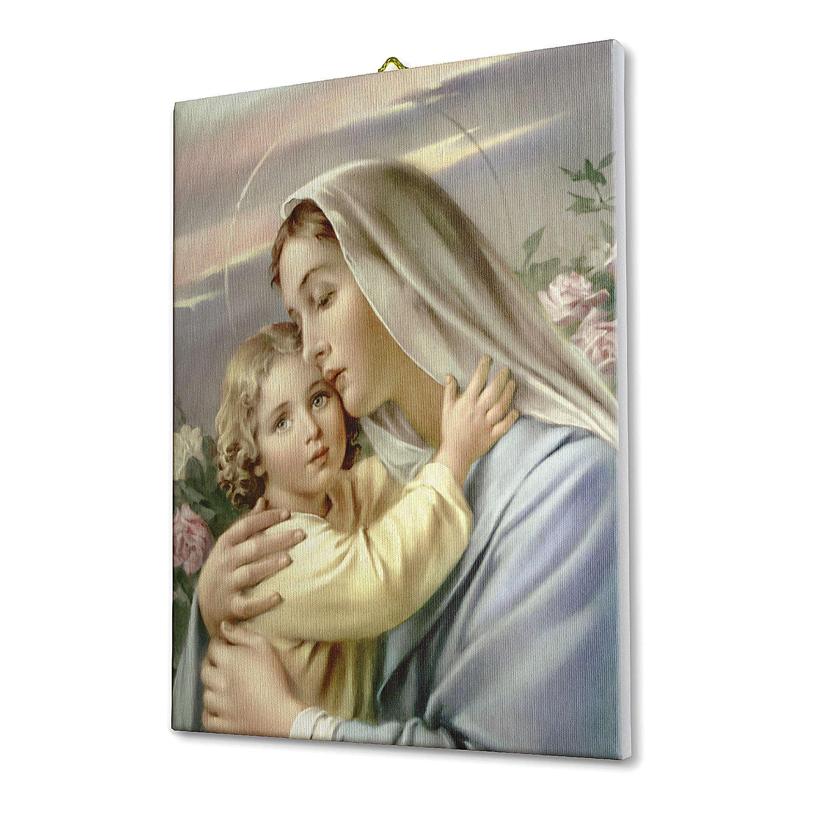 Quadro su tela pittorica Madonna con Bimbo 70x50 cm 3