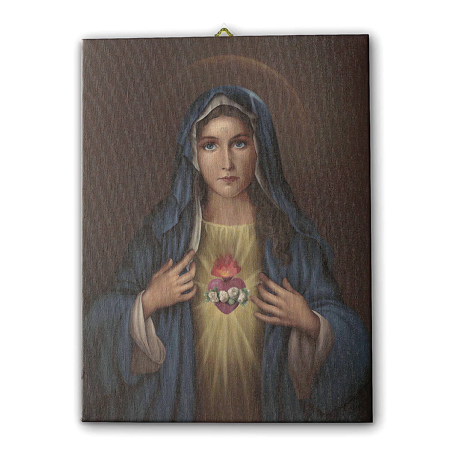 Quadro su tela pittorica Cuore Immacolato di Maria 25x20 cm 3
