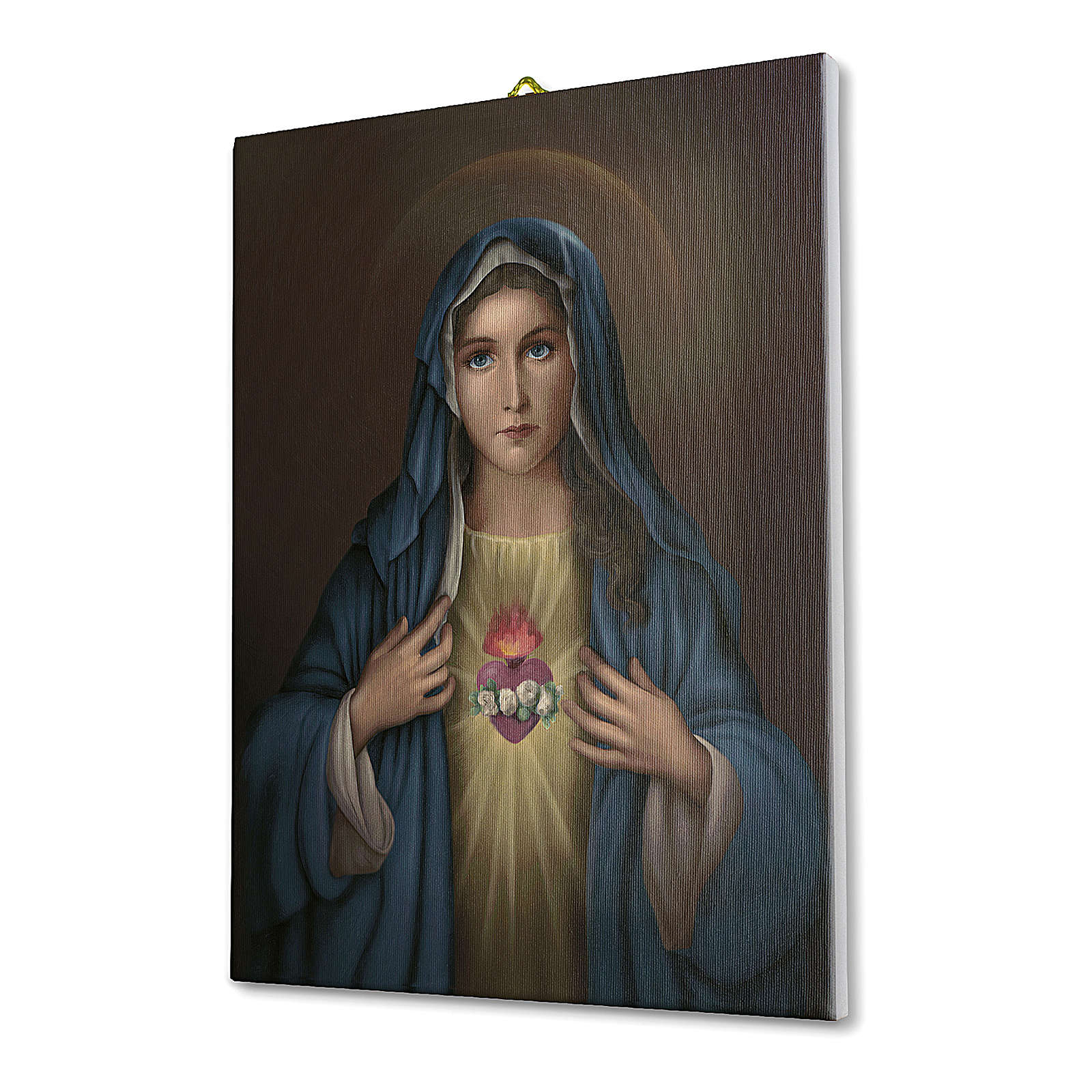 Quadro su tela pittorica Cuore Immacolato di Maria 40x30 cm 3