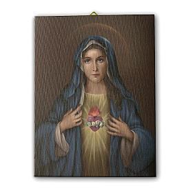 Quadro su tela pittorica Cuore Immacolato di Maria 40x30 cm s1