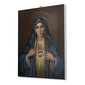 Quadro su tela pittorica Cuore Immacolato di Maria 40x30 cm s2