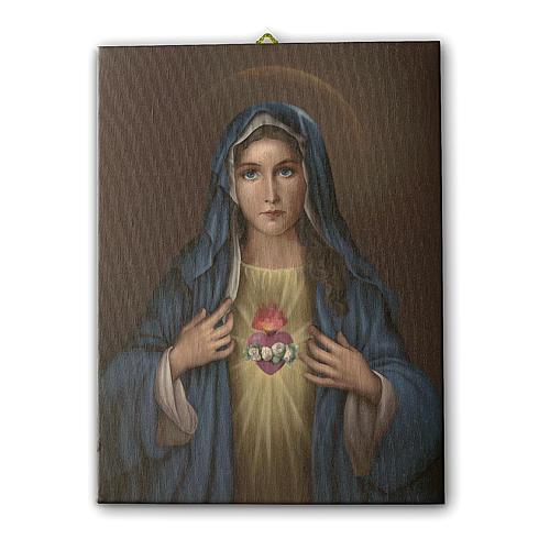 Quadro su tela pittorica Cuore Immacolato di Maria 40x30 cm 1