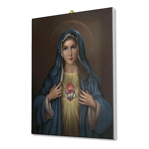 Quadro su tela pittorica Cuore Immacolato di Maria 40x30 cm 2