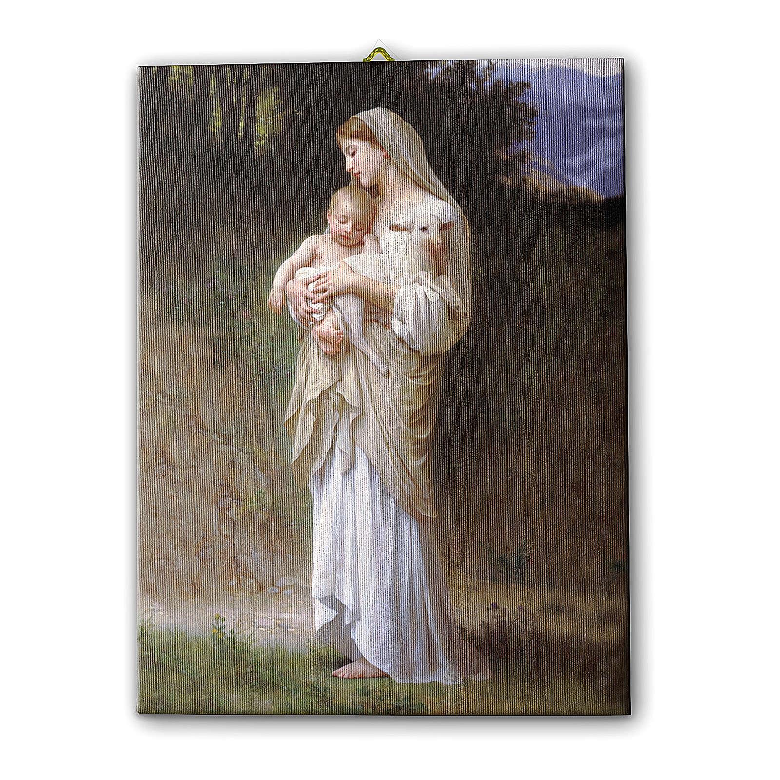 Quadro su tela pittorica Divina Innocenza di Bouguereau 25x20 cm 3