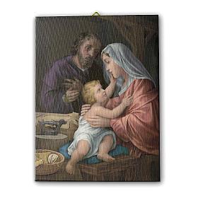 Quadro su tela pittorica Sacra Famiglia 25x20 cm s1