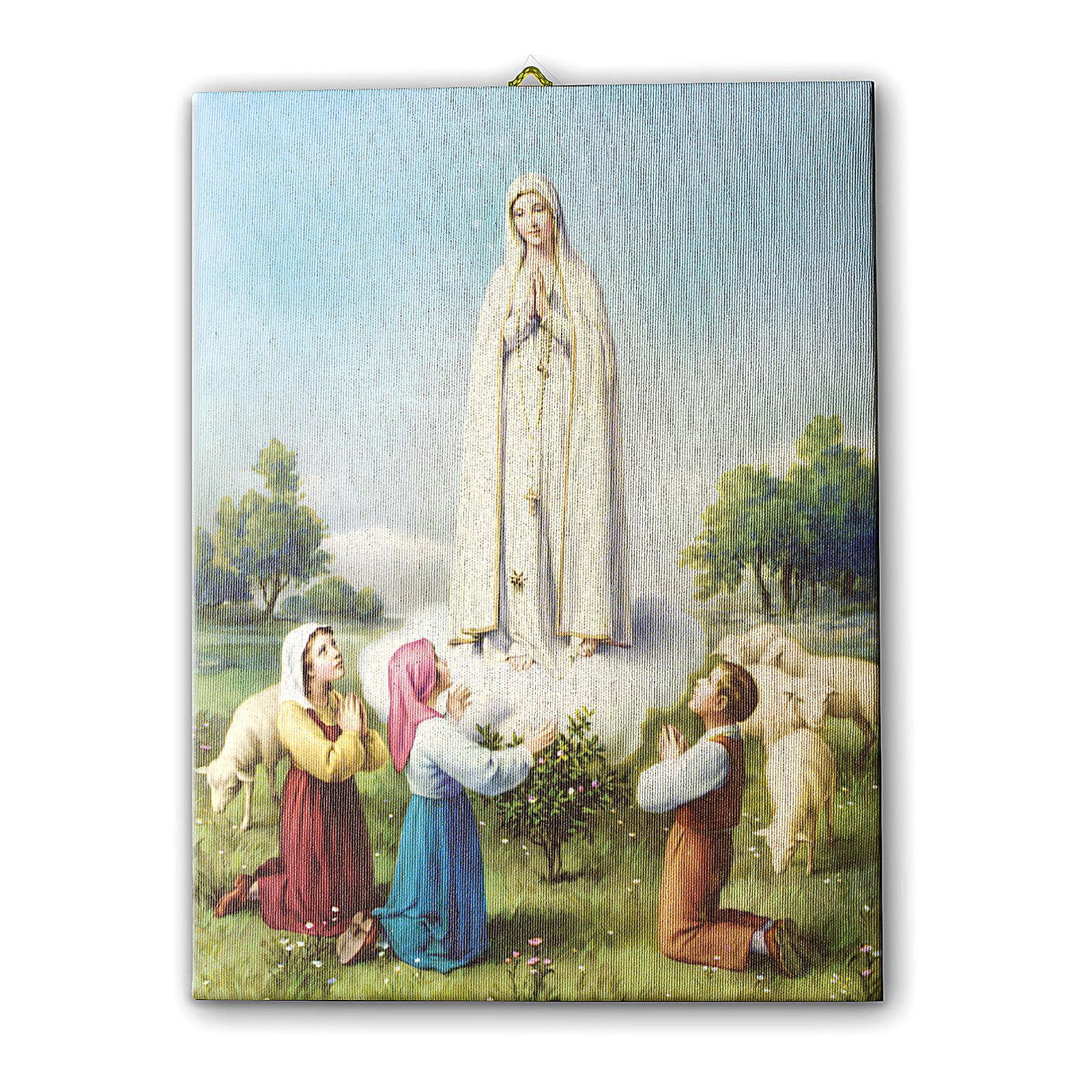 Quadro su tela pittorica Madonna di Fatima con Pastorelli 25x20 cm 3