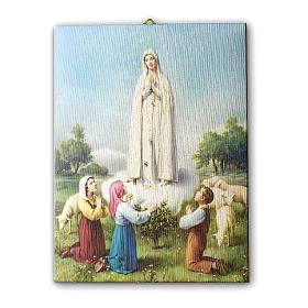 Quadro su tela pittorica Madonna di Fatima con Pastorelli 25x20 cm s1