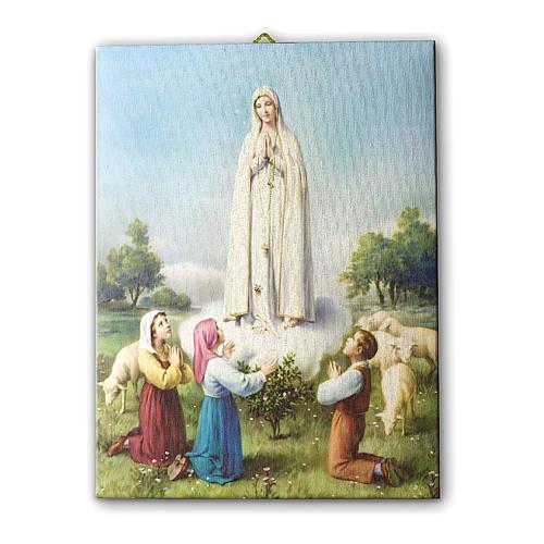 Quadro su tela pittorica Madonna di Fatima con Pastorelli 25x20 cm 1