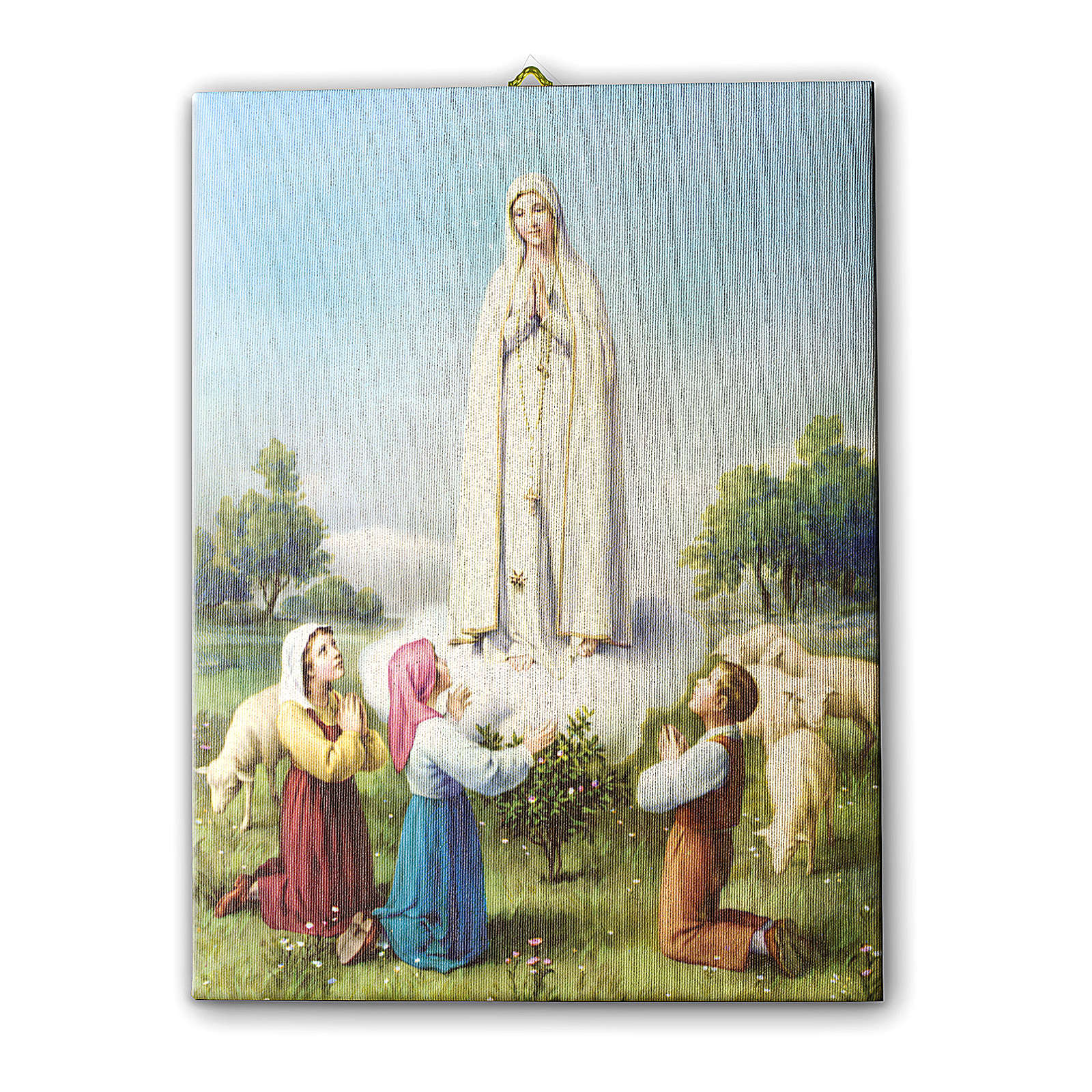 Madonna of Fatima with little shepherds printed on canvas 25x20 cm 3