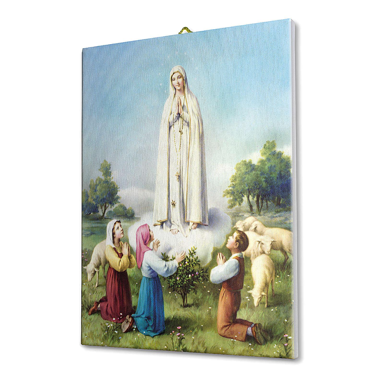 Quadro su tela pittorica Madonna di Fatima con Pastorelli 40x30 cm 3