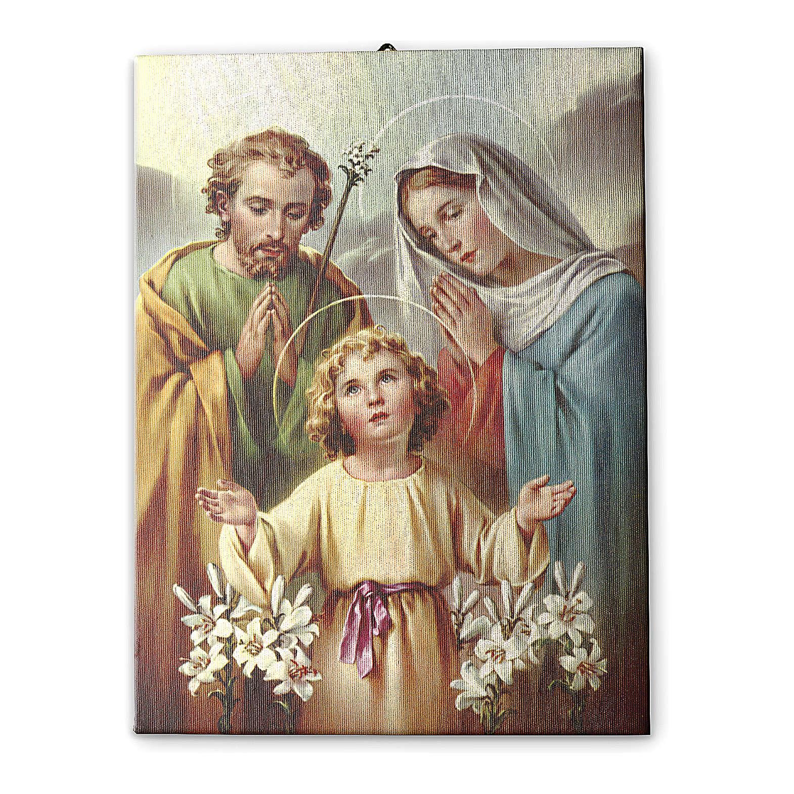 Quadro su tela pittorica Sacra Famiglia 70x50 cm 3