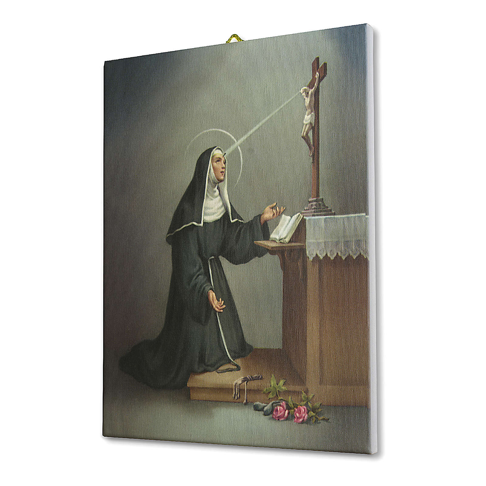 Tela pittorica quadro Santa Rita da Cascia 40x30 cm 3