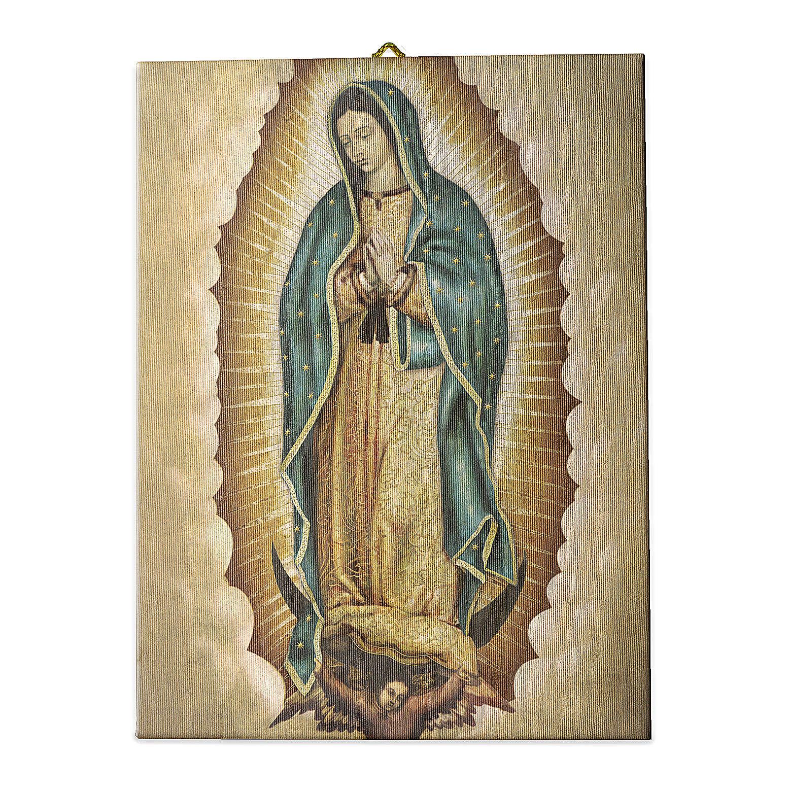 Cuadro sobre tela pictórica Virgen de Guadalupe 25x20 cm 3
