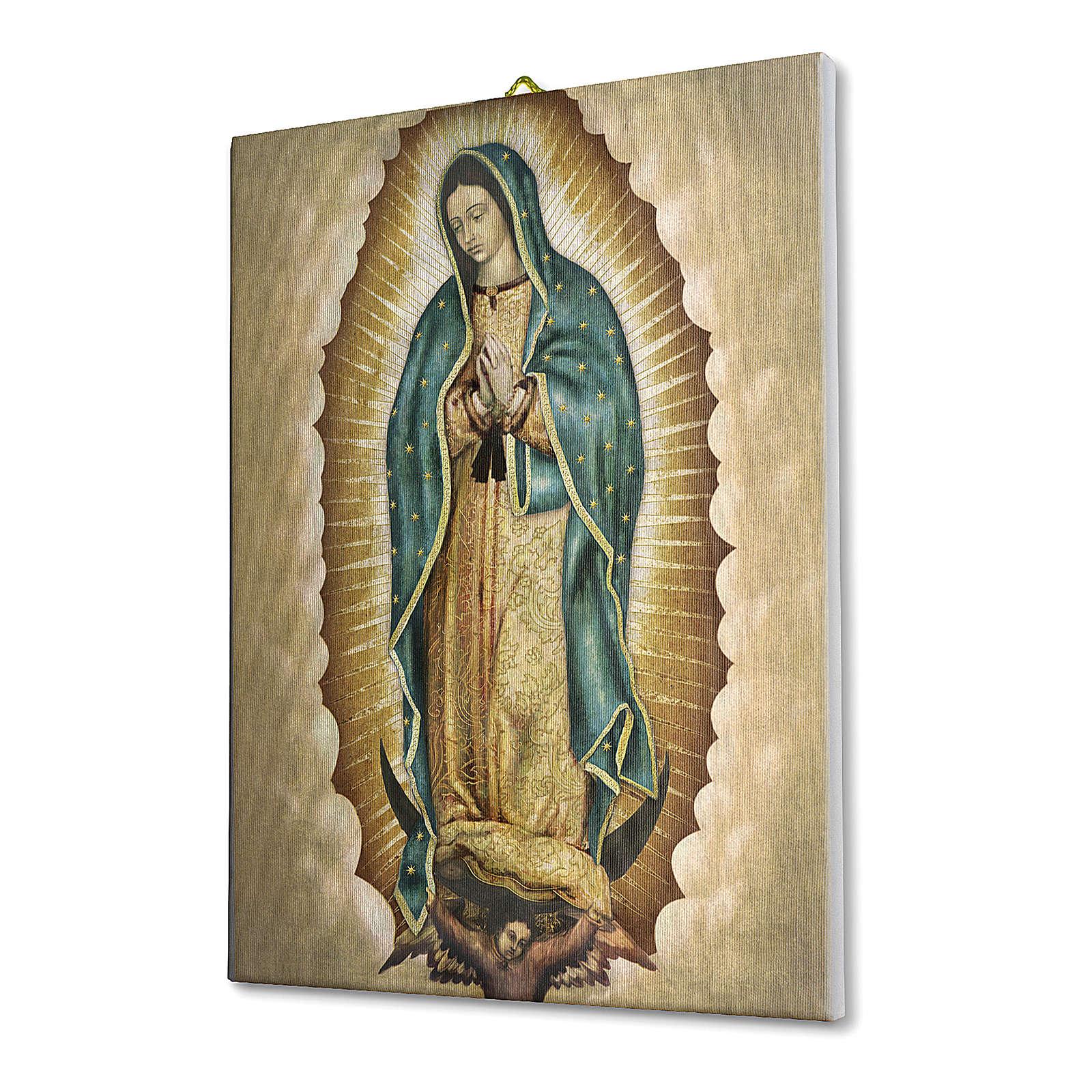 Cuadro sobre tela pictórica Virgen de Guadalupe 40x30 cm 3