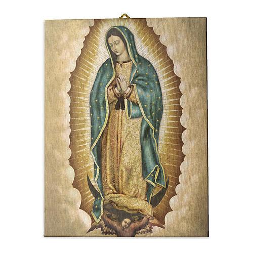 Cuadro sobre tela pictórica Virgen de Guadalupe 40x30 cm 1