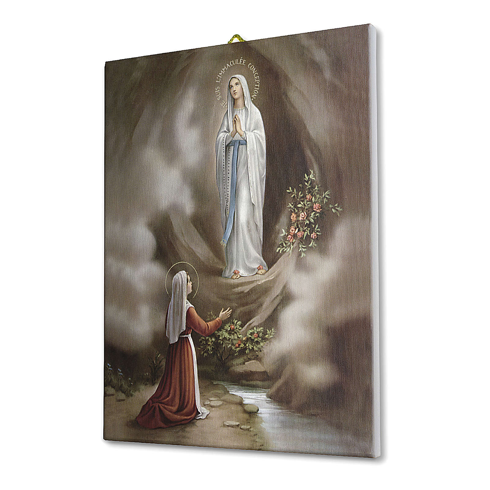 Quadro su tela pittorica Apparizione di Lourdes 25x20 cm 3