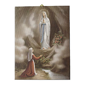Quadro su tela pittorica Apparizione di Lourdes 25x20 cm s1