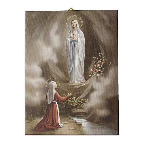 Quadro su tela pittorica Apparizione di Lourdes 25x20 cm 1
