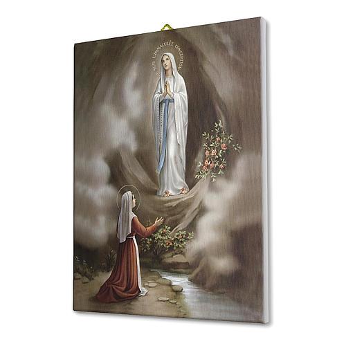 Quadro su tela pittorica Apparizione di Lourdes 25x20 cm 2