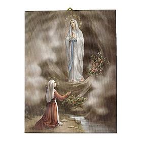 Quadro su tela pittorica Apparizione di Lourdes 40x30 cm s1