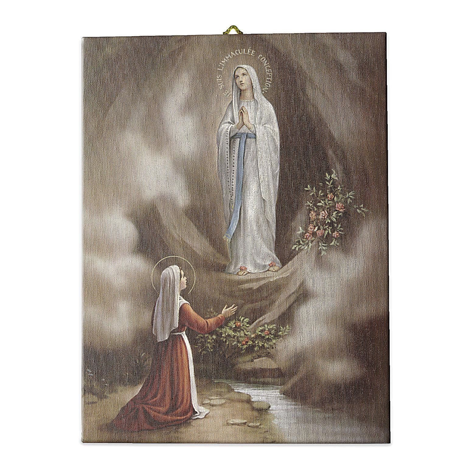 Quadro su tela pittorica Apparizione di Lourdes 70x50 cm 3