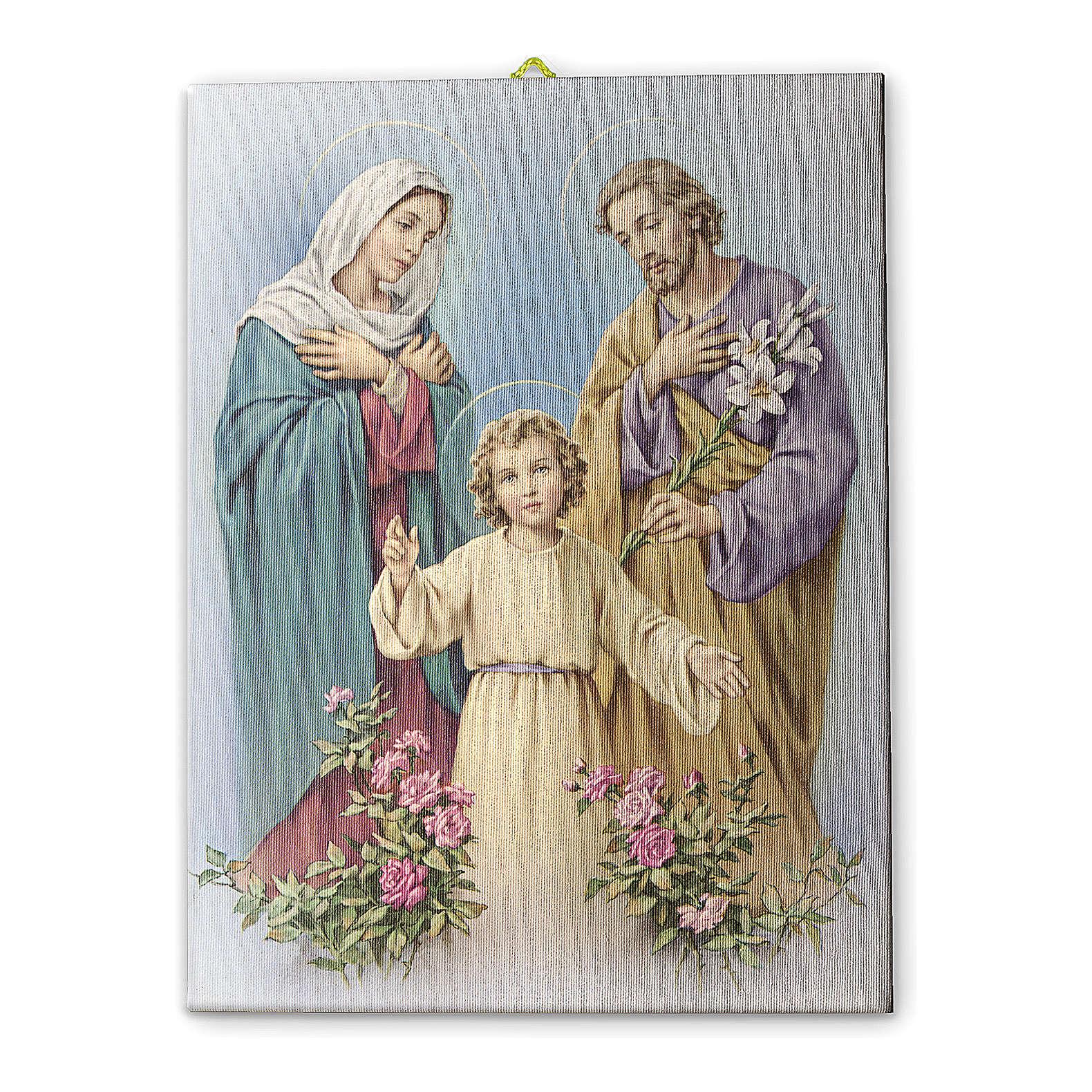 Quadro su tela pittorica Sacra Famiglia 25x20 cm 3