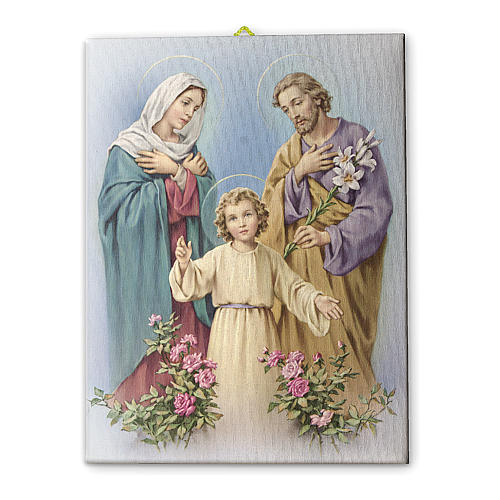 Quadro su tela pittorica Sacra Famiglia 25x20 cm 1