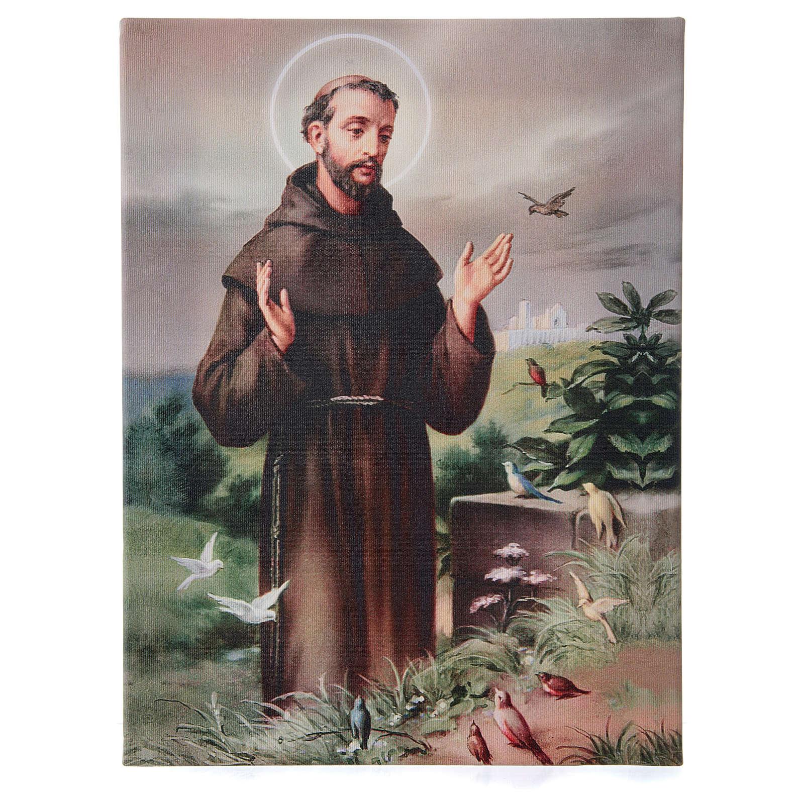 Quadro su tela pittorica San Francesco d'Assisi 40x30 cm 3