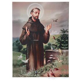 Quadro su tela pittorica San Francesco d'Assisi 40x30 cm s1