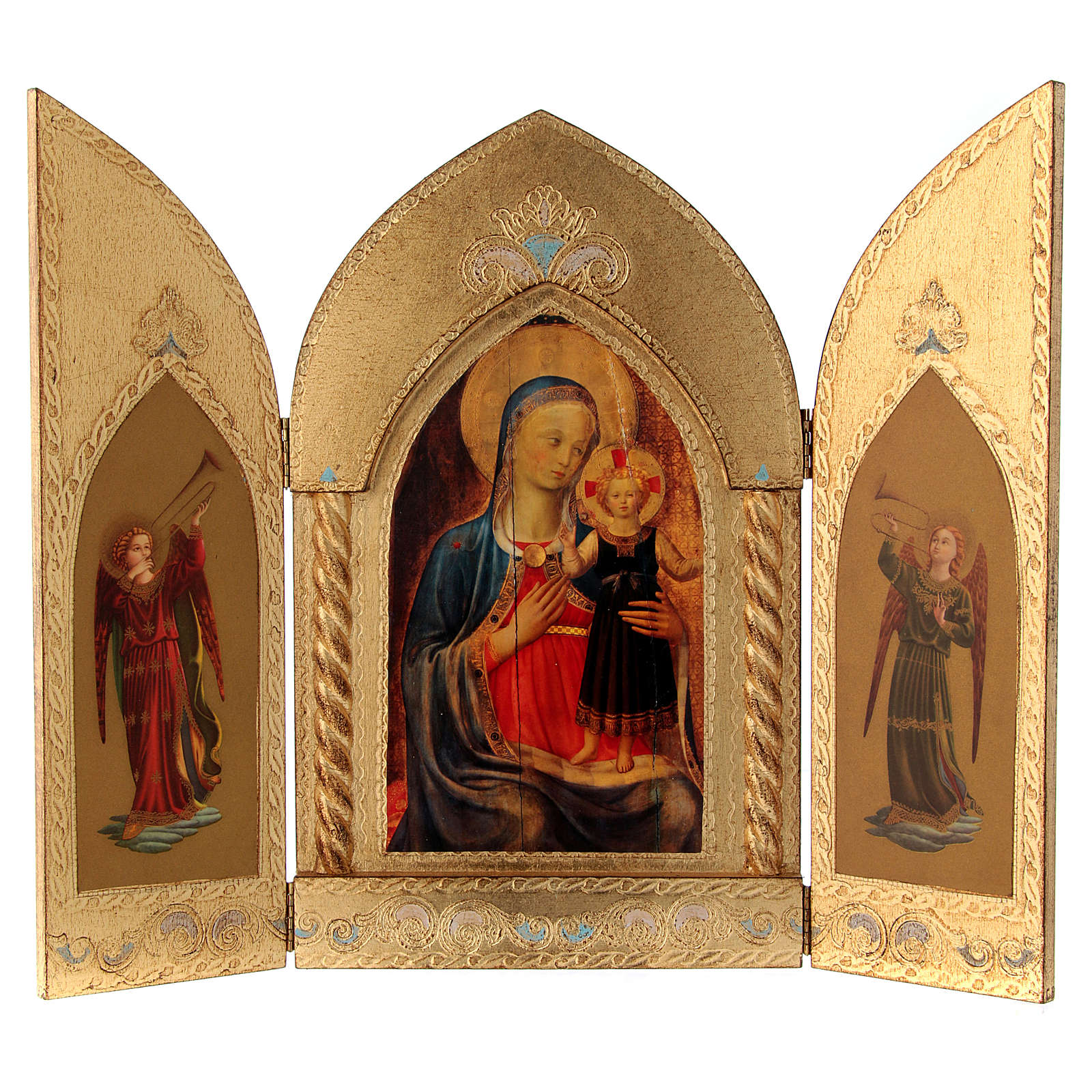Triptych Mary with Jesus and Angels, gold leaf 3