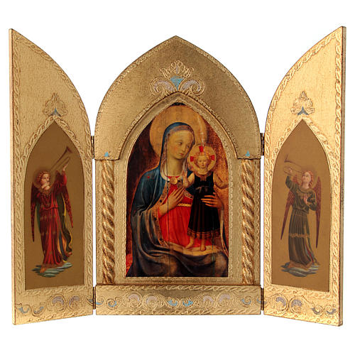 Triptych Mary with Jesus and Angels, gold leaf 1