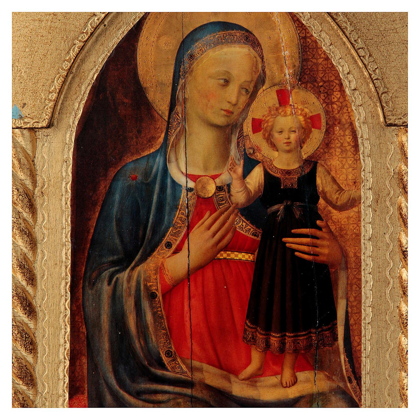 Trittico foglia oro Maria con Gesù e Angeli  3