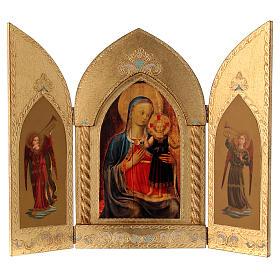Trittico foglia oro Maria con Gesù e Angeli  s1